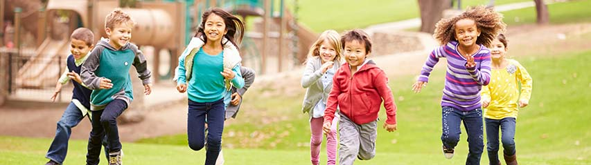 kids racing and running outside for fun