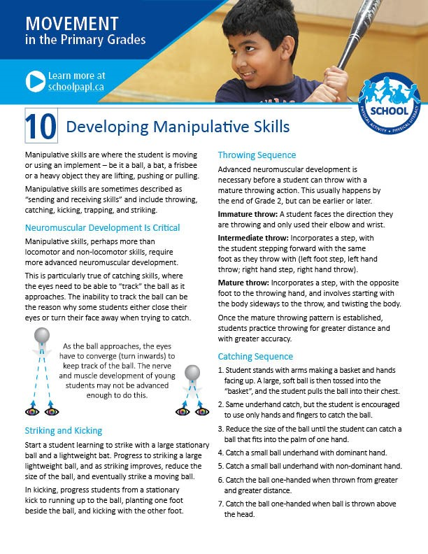 Movement in the Primary Grades: Developing Manipulative Skills
