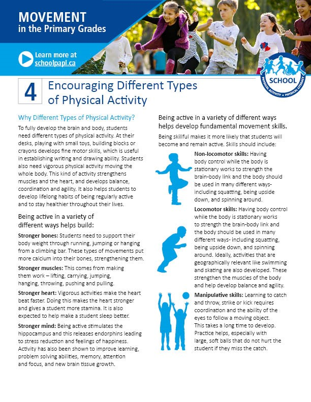 Movement in the Primary Grades: Encouraging Different Types of Physical Activity
