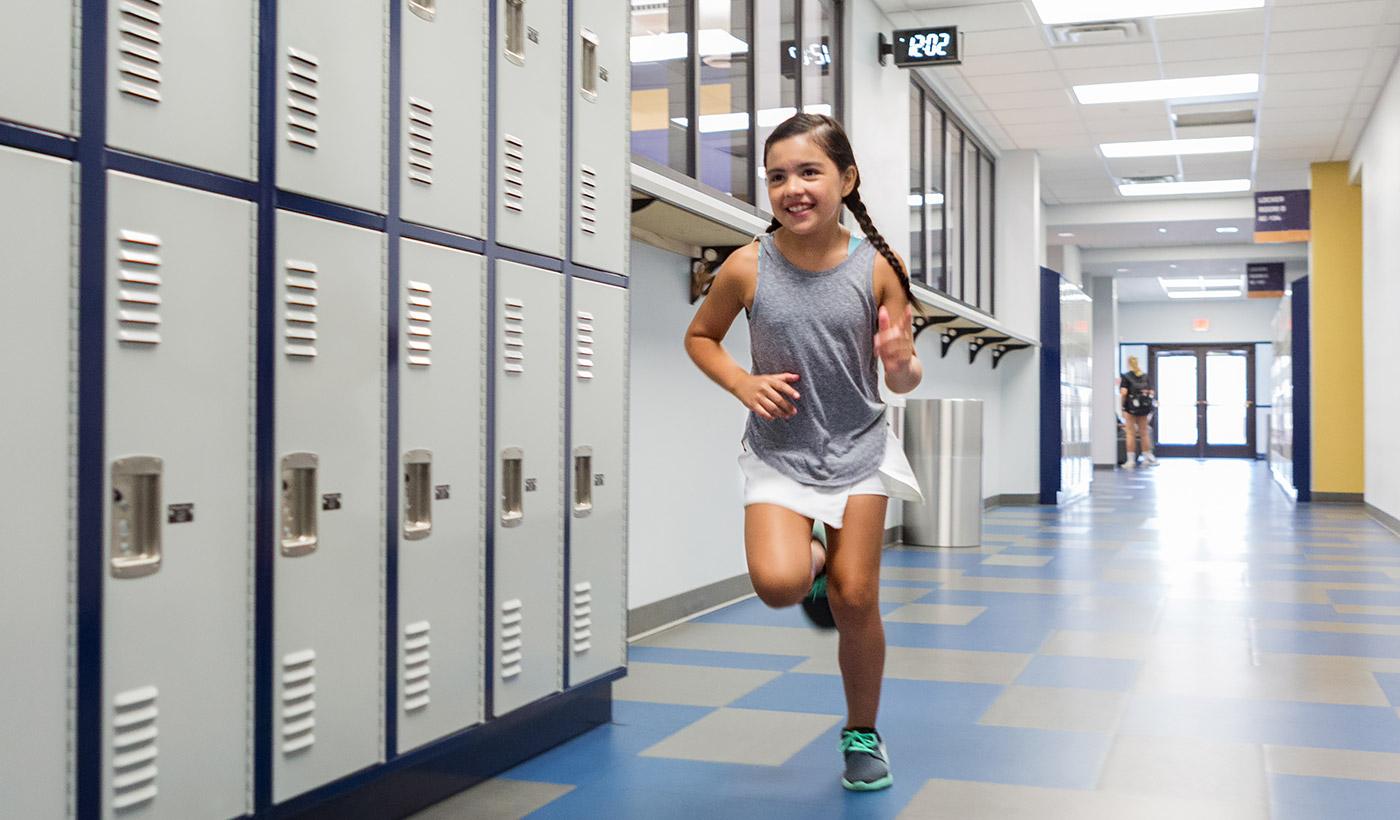girl running inside