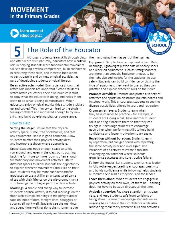 Movement in the Primary Grades: The Role of the Educator to Develop Physical Literacy in Students