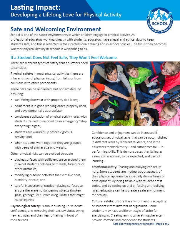 Lasting Impact: Safe and Welcoming Environments