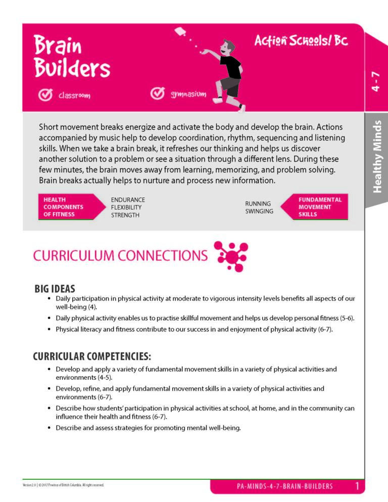 Action Schools! BC Brain Builders Activity (Grades 4-7)