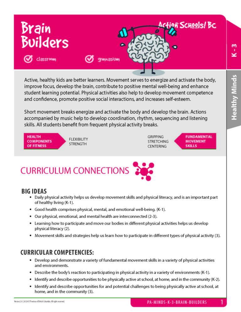 Action Schools! BC Brain Builders Activity (Grades K-3)