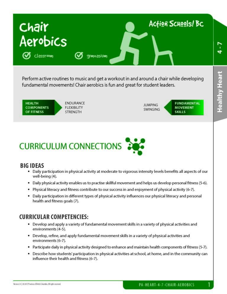 Action Schools! BC Chair Aerobics Activity (Grades 4-7)