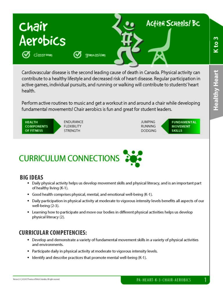 Action Schools! BC Chair Aerobics and Routines Activity (Grades K-3)