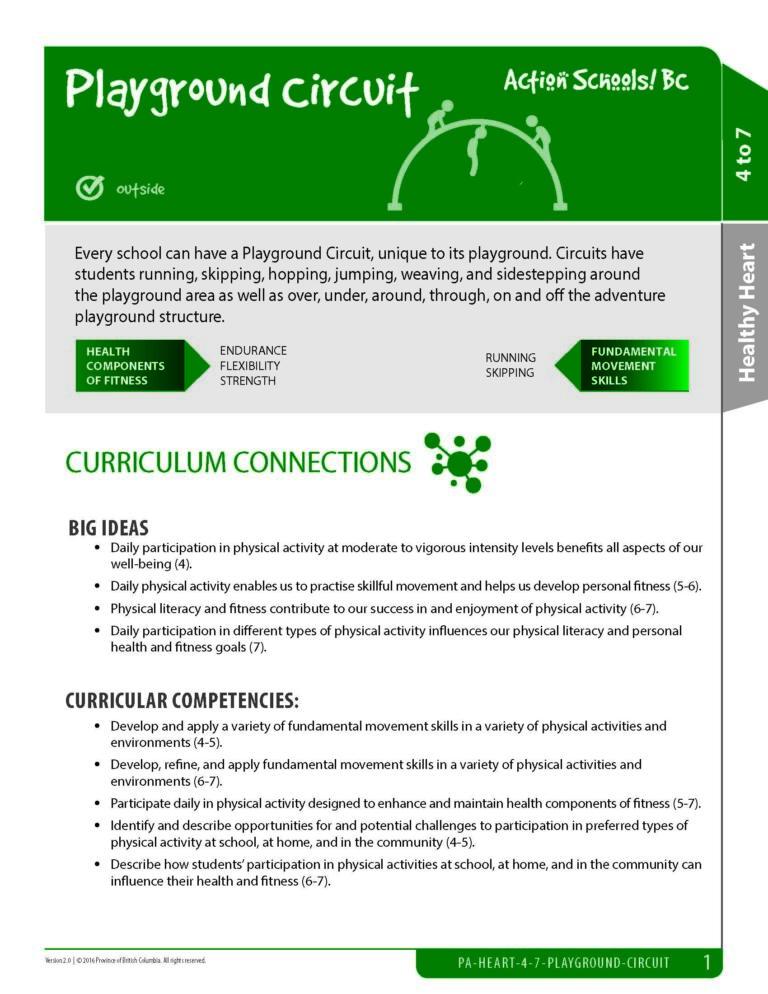 Action Schools! BC Playground Circuit Activity (Grades 4 - 7)