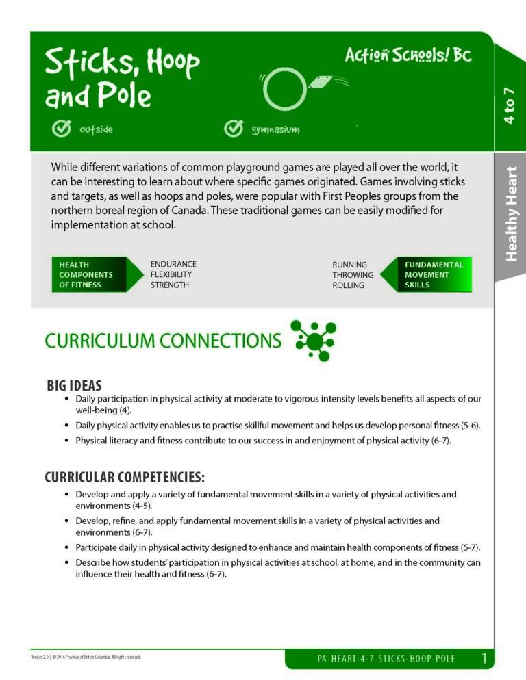 Action Schools! BC Stick, Hoop & Pole Activities (Grades 4-7)